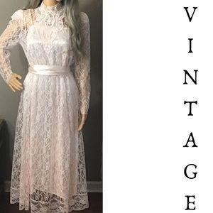Vintage 80s Pink Lace Victorian Gunne Sax Dress